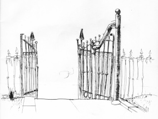 David Pariser's drawing of the iron fence at 1221